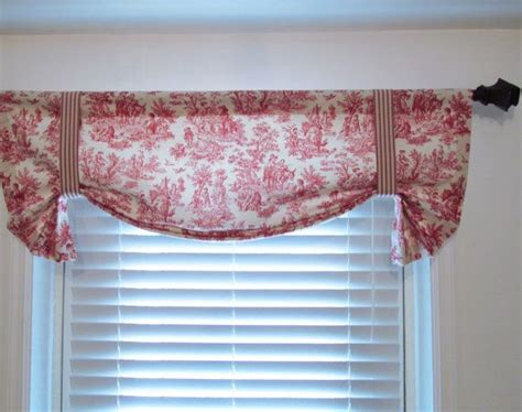 red tie up curtains red toile tie up curtain valance by waverly handmade in