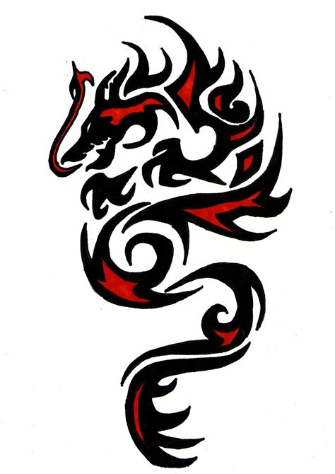 tribal red and black ink dragon tattoo design tattooed
