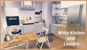 Baby In One Bedroom Apartment sims 4 white kitchen with laundry dinha