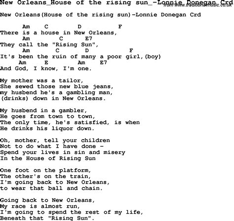 house of the rising sun lyrics skiffle lyrics for new orleans house of the rising sun lonnie donegan with chords for