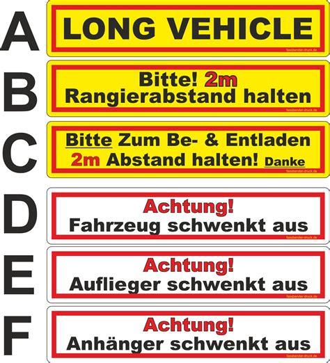 Aufkleber Lkw lkw anh 228 nger aufkleber vehicle 2 m abstand auflieger