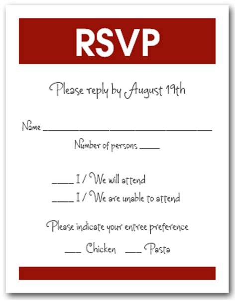 white and burgundy rsvp cards, reply cards, response cards