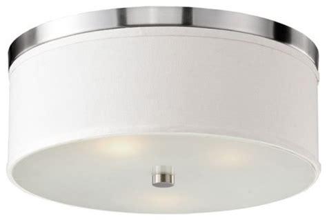 Linen Flush Mount Ceiling Light by White Textured Linen Drum Flush Mount With Chrome Trimmed