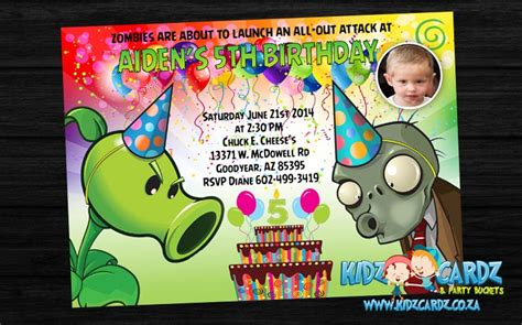 printable plants vs zombies birthday invitations invitations kidzcardz