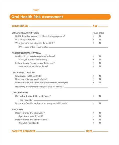 Free Health Assessment Form Dental Risk Assessment Template