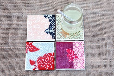 How To Make Paper Coasters - diy drink coasters from tiles paper