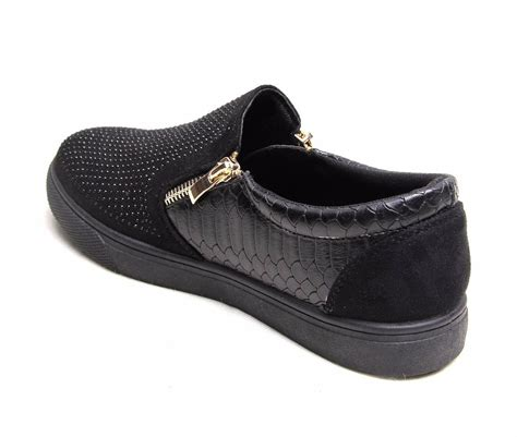 pattern black shoes womens diamante slip on detail trainers croc pattern black