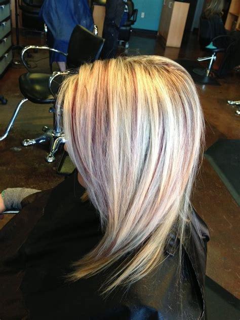 blonde highlights  burgundy lowlights   karli