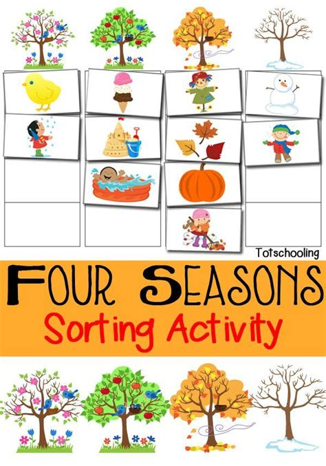 living the seasons of fall and winter books four seasons sorting activity free printable free