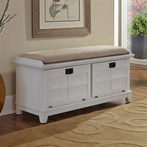 Indoor Storage Bench Shop Home Styles Arts And Crafts Transitional White Storage Bench At Lowes