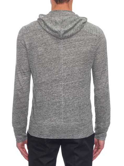 Knitted Jacket Light Gray 61468 lyst varvatos linen knit hooded jacket in gray for