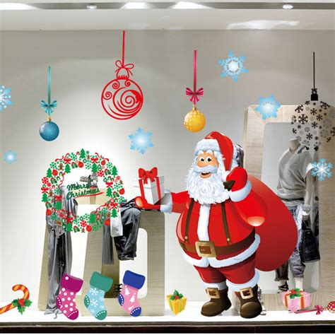christmas decoration for kindergarden kindergarten classroom layout stickers wall stickers santa claus window