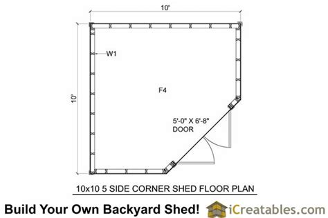 floor plans for sheds 10x10 5 sided corner shed plans