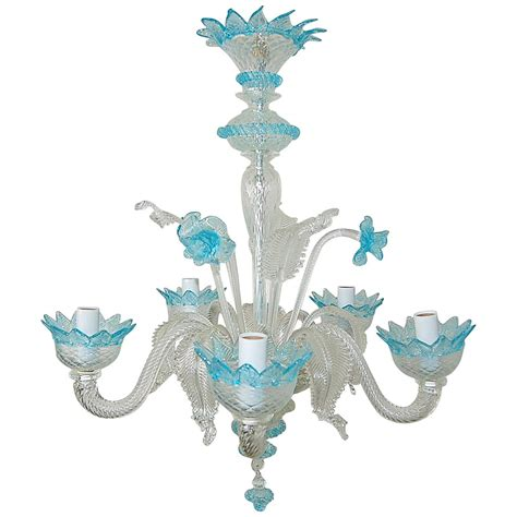 Blue Glass Chandelier Vintage Murano Glass Chandelier Of Murano With Blue Accents For Sale At 1stdibs
