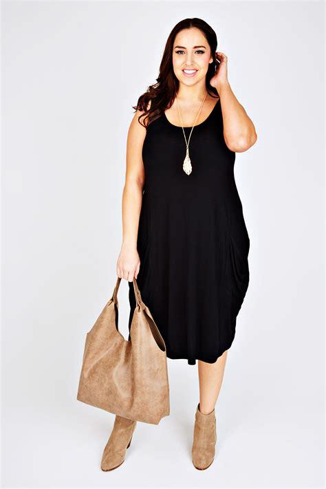 black drape dress black drape pocket sleeveless dress plus size 14 16 18 20