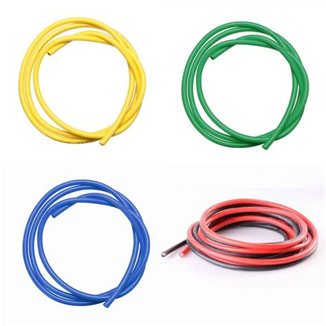 5pcs 1m 12 awg silicone wire sr wire black yellow blue
