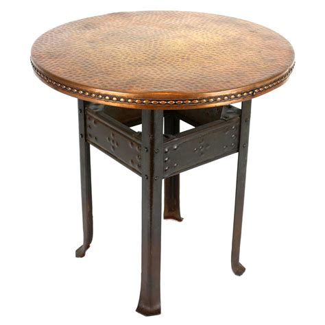 Copper Side Table Deco Hammered Iron And Copper Side Table At 1stdibs