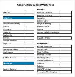 Residential Construction Budget Template Sheet Templates Free Sample Templates