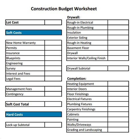 Construction Budget Sample   8  Documents in PDF, Excel