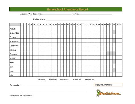 printable calendar homeschool free printable attendance record new calendar template site