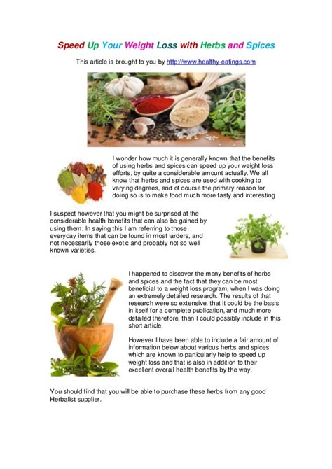 weight loss herbs speed up your weight loss with herbs and spices