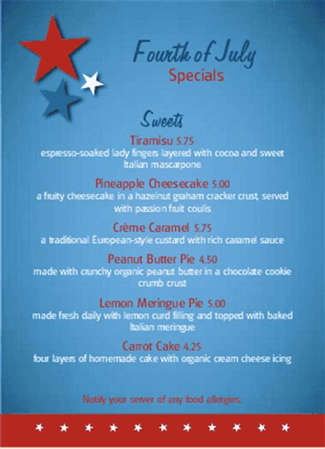 4th of july menu template july 4th table tent 4th of july menus