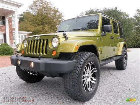 jeep sahara green 2007 jeep wrangler unlimited sahara 4x4 in rescue green