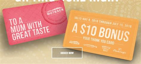 Outback Steakhouse Gift Card Promo - mother s day freebies deals 2016