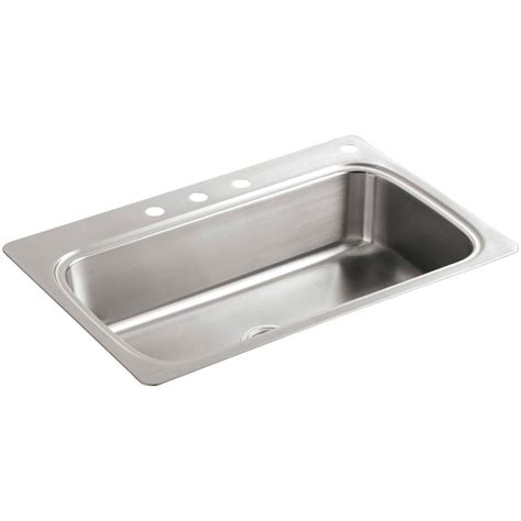 kitchen sink holes kohler vault drop in farmhouse apron front stainless steel