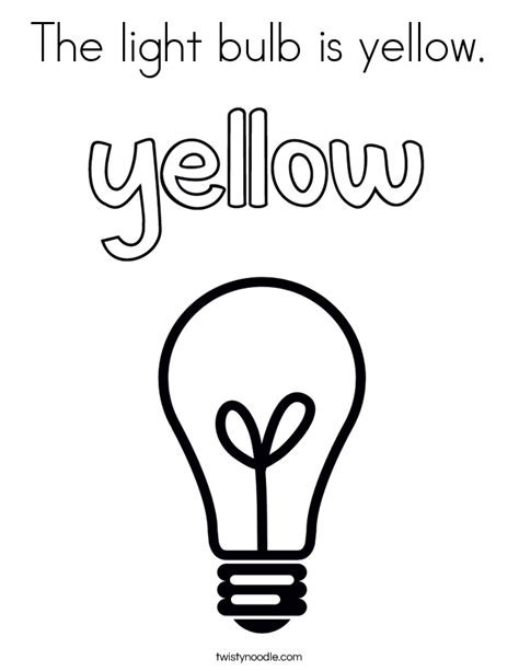 yellow coloring pages for toddlers the light bulb is yellow coloring page twisty noodle