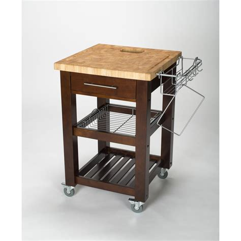 chris chris pro chef espresso kitchen cart with storage