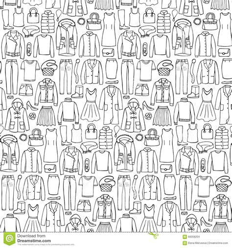 clothes pattern vector doodle seamless pattern with woman clothes stock vector