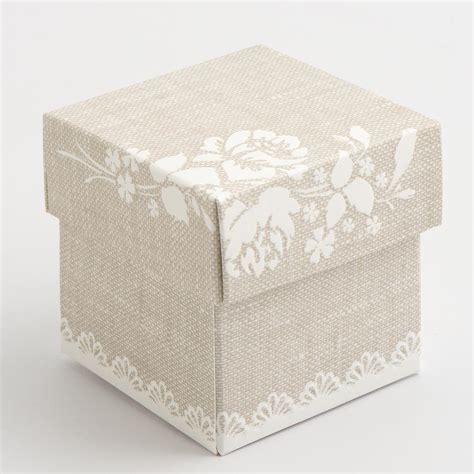 Shabby Square 2 10 pearl grey shabby chic square favour box favour
