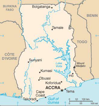 genaue landkarte und landes geographie von ghana