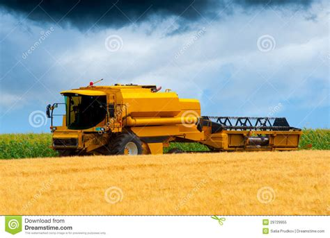 Steunk Combines Modern Tech With Elements by Modern Combine Harvesting Wheat Royalty Free Stock Photo