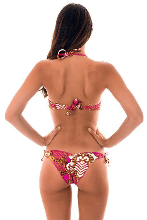 Morena Set Pink pink and gold printed with underwire balconette top
