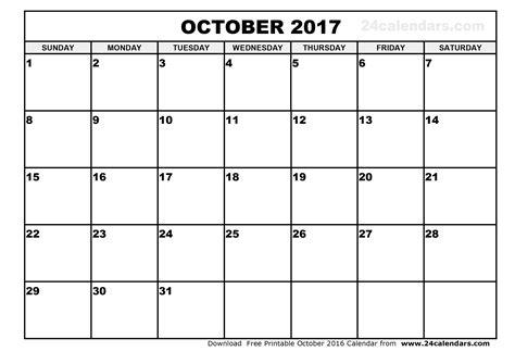 blank calendar template october october 2017 calendar printable