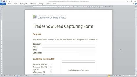 Trade Show Lead Capturing Form Youtube Lead Capture Template