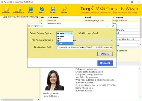 contact format converter msg to vcard csv pdf html msg contacts converter