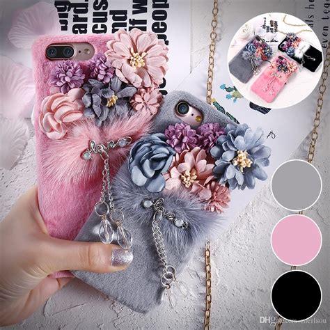 girls plush fur flower  case luxury plush mink fur furry women pc cases  iphone