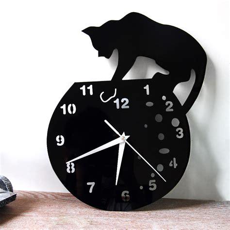 clock designs funlife stylish cat on roof acrylic wall clock creative
