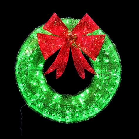 outdoor wreath with lights 36 quot in wreath green tinsel with twinkling led