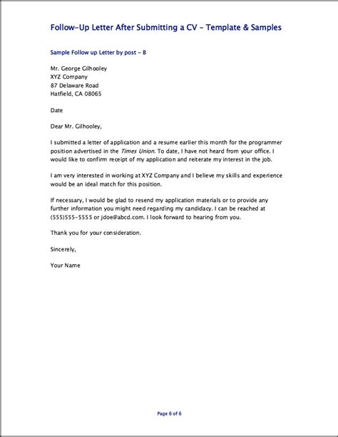 Sample Follow Up Letter After Submitting A Resume – Great Resume