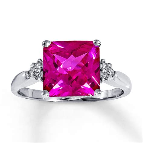 jared lab created pink sapphire ring with diamonds 14k