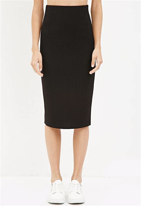 knitted skirts forever 21 ribbed knit midi skirt in black lyst
