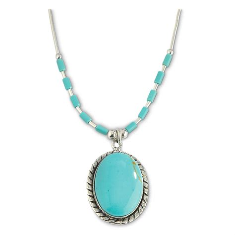 turquoise necklace sterling oval turquoise beaded necklace 618336 jewelry