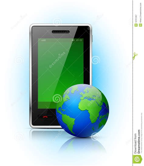 mobile globe mobile phone with globe royalty free stock photography