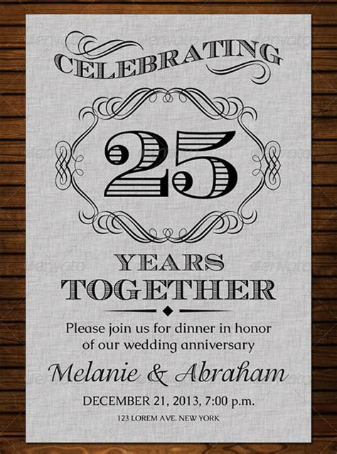 25th birthday card templates 19 anniversary invitation template free psd format