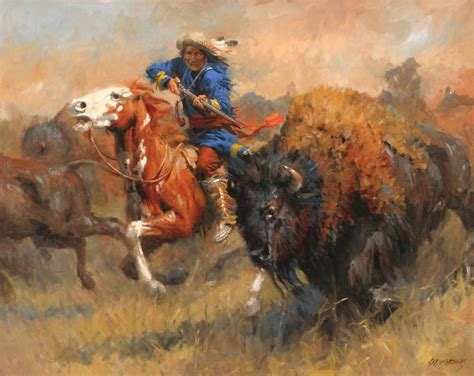 canvasstyle imaginary house hunt indians style handmade canvas oil painting hunting bison