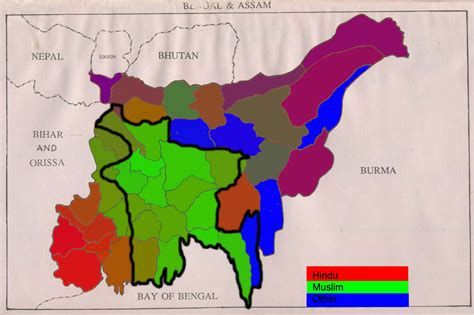 british partition bengal into hindu and muslim sections how did partition change the religious map in bengal